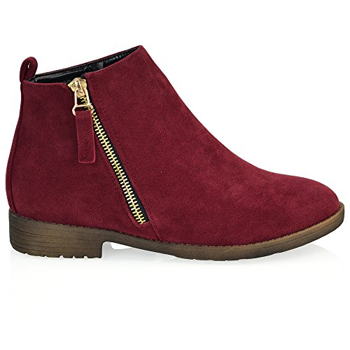 ESSEX GLAM Womens Faux Suede Flat Heel Zip Up Ankle Boots Burgundy Faux Suede 4coCk2qht