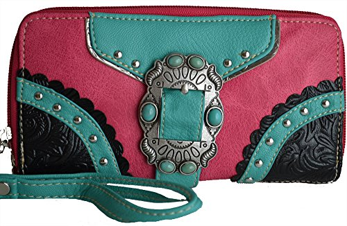 Western Belt Buckle Turquoise Studded Clutch Wallet Purse (Hot Pink) (Leather Open Metal Studded Belt)
