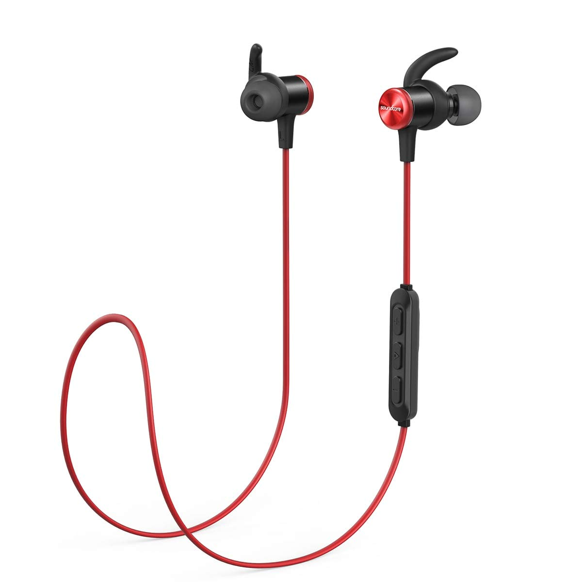 Bluetooth Headphones, Soundcore Spirit Sports Earbuds by Anker, Bluetooth 5.0, 8H Battery, IPX7 Waterproof, SweatGuard, Comfortable Wireless Headphones, Secure Fit for Running, Gym, Workout (RED)