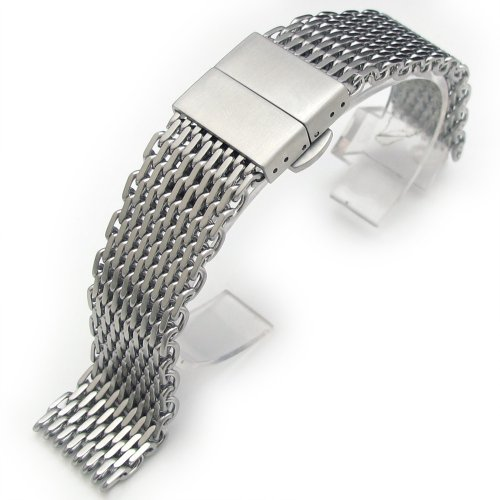 22mm Ploprof 316 SS Wire ''SHARK'' Mesh Milanese Watch Band, Deployant Clasp, Brushed, AZ by 20mm Mesh Band