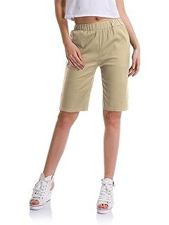 OCHENTA Femme Short Bermuda Casual Cordon de Serrage Tour de Taille  Elastique 411fc372e39