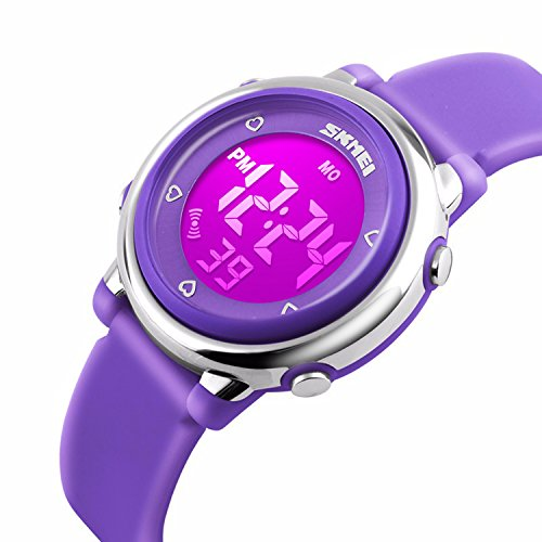 Kids Digital Waterproof Watch for Girls Boys, Sport Outdoor LED Electrical Watches with Luminescent Alarm Stopwatch Child Wristwatch – Purple