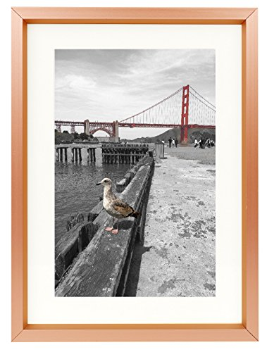 Frametory, 5x7 Table-Top Metal Picture Frame Collection, Aluminum Photo Frame with Ivory Color Mat for 4x6 Picture & Real Glass (Rose Gold)
