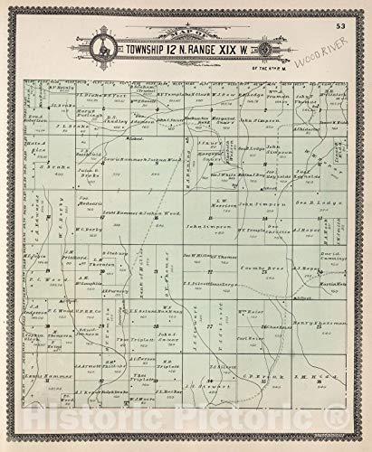 - Historic Map | Dawson County Nebraska, County Atlas Map, Township 12 N. Range XIX W. 1904 | Vintage Wall Art | 36in x 44in
