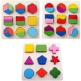 木のおもちゃ 幾何認知 形合わせ 積み木 型はめ パズル 幼児 知育玩具 3点セット