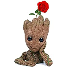 NeheartE Baby Groot Flowerpot, The Guardians of Galaxy Cute Baby Groot Pencil Holder for Kids, Model Toy PVC Plant Holder Home Decor