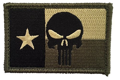 "[Single Count] Custom and Unique (3'' x 2'') Rectangle ""Tactical"" Punisher Skull Texas Flag Design Iron/Sew On Embroidered Applique Patch {Black, Tan, & Green Colors} [Licensed] by Patch Squad USA"
