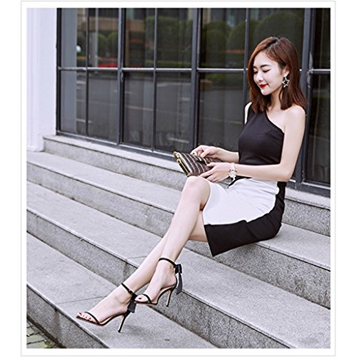 casual Champagne shoes bows sandals heels black sexy Color 8 36 Size fine 5cm high student with shoes Women WqX0X6
