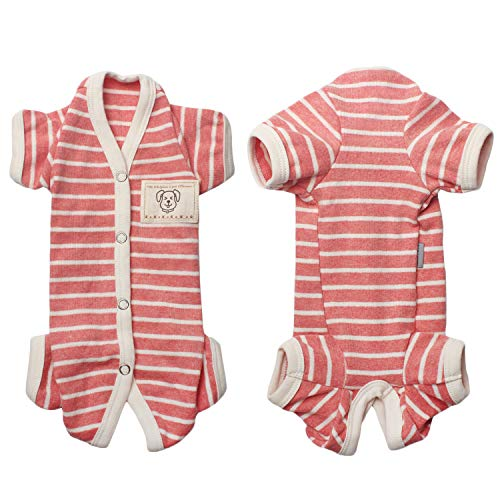 TONY HOBY Female/Male Pet Dog Pajamas Stripes 4 Legged Dog pjs Jumpsuit Soft Cotton Dog Clothes (S, Pink+White-Girls)