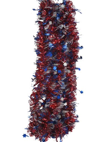 USA Red White & Blue 9 ft Tinsel Garland (Stars & Stripes)