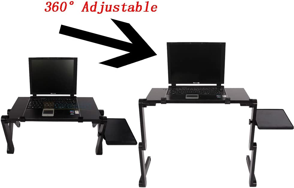 Cozywind 48 x 26cm Adjustable Portable Home Use Assembled Folding Laptop Table Black Desk Stand Tray Laptop Computer Stands