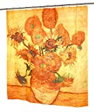 Sunflowers Fabric Novelty Shower Curtain – Museum Collection by artist Vincent Van Gogh