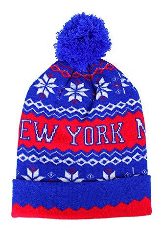 NY New York Aztec Print Pom Pom Ski Beanie Hat Cap Blau