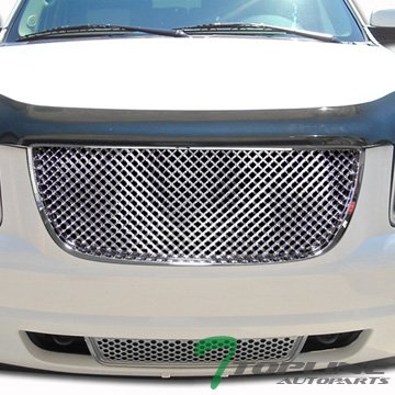 Chrome Rear Lower Cowl - Topline Autopart Chrome 3D Mesh Upper+Lower Front Hood Bumper Grill Grille 07-12 Gmc Yukon Denali