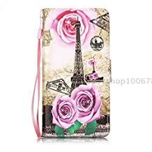 Huawei P10 Case, Ngift [Eiffel Tower] [Stand Function] Luxury PU Leather Wallet Case Flip Cover Built-in Card Slots for Huawei P10