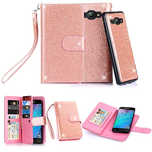 TabPow Galaxy J3 Case, 10 Card Slot - [ID Slot] Wallet Folio PU Leather Case Cover with Detachable Magnetic Hard Case for Samsung Galaxy J3 (2016)/ Express Prime/Amp Prime - Glitter Rose Gold