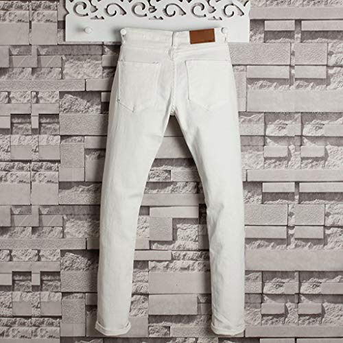 Allywit Men's Skinny Jeans Fashion Teen Boys Stretch Slim Fit Ripped Destroyed Distressed Denim Jeans Pants Big and Tall White by Allywit-Pants (Image #2)