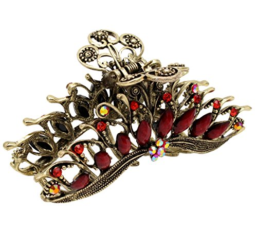 Fashion & Lifestyle Large Metal Alloy Hair Claw Jaw Clip for Women and Girls - Pretty Strong Clamp Non-Slip Barrette Hair Updo Grip Bath Accessories for Thick Hair, Red (Halloween Updo Hairstyles)