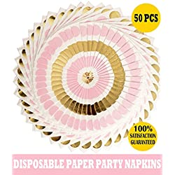 Meant2ToBe Pink Pots Baby Shower Napkins Cocktail Napkins Beverage Cocktail Napkins Disposable Paper Party Napkins with Pink and Gold Dots Decorative Paper Napkins (Pink Dots Napkins)