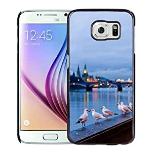 Fashionable Custom Designed Samsung Galaxy S6 Phone Case With Seagulls In London_Black Phone Case