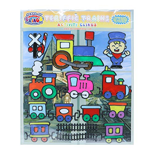 JesPlay Terrific Trains Flexible Gel Clings - Reusable Window Clings for Kids and Adults - Incredible Gel Decals of Trains, Tracks, Boxcars, Engines, Engineers, Signs, Crossing and More
