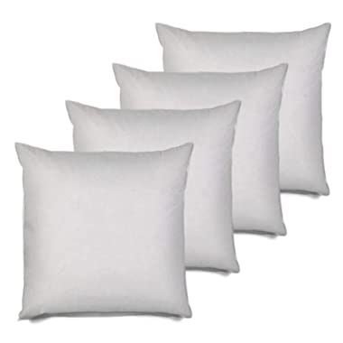 MSD 4 Pack Pillow Insert 20X20 Hypoallergenic Square Form Sham Stuffer Standard White Polyester Decorative Euro Throw Pillow Inserts for Sofa Bed - Made in USA (Set of 4) - Machine Washable and Dry