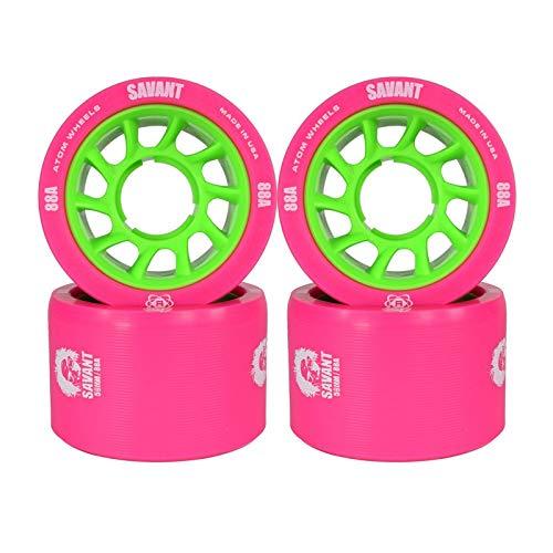Atom Savant Skate Wheels Pink 88A Set of 4 by ATOM