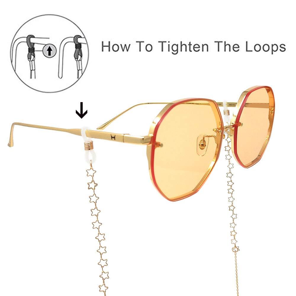 ab6e87fba29e LUFF Anti-Skid Reading Glasses chain Glasses Strap retro metal chain sunglasses  glasses holder (Gold) at Amazon Women's Clothing store: