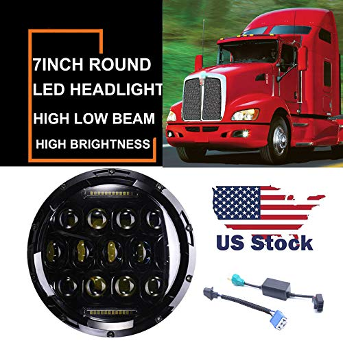 7 inch 75w Round LED Projector Headlights For Kenworth T2000 T-2000 1998-2010 Tractor Trailer Truck Lamp H4 H13 Adaptor Hi/Lo Beam DRL Sealed Beam Headlight Double Beam DRL Driving Lamp Replacement -