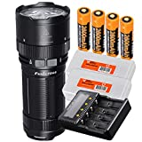 Fenix FD65 3800 Lumens High Performance Focusable Zoomable LED Flashlight, 4x 2600mAh 18650 Rechargeable Batteries, ARE-C2+ Four Channel Battery Charger, 2x Lumen Tactical Battery Organizers