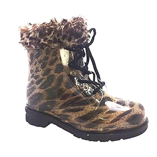 7377b6b2e163 delicate Chemistry Water Proof Round Toe Ankle High Jelly Warm Snow Rain  Boots Yellow Leopard