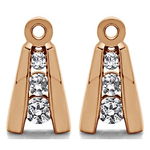 1/5 ct. Forever Brilliant Moissanite by Charles Colvard Moissanite Three Stone Earring Jackets in Rose Gold Plated Sterling Silver (0.19 ct. twt.) by TwoBirch