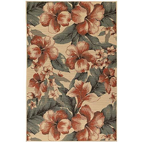 Liora Manne RVI69764912 Riviera Tropical Flower Indoor/Outdoor Rug Cream Beige 6'6