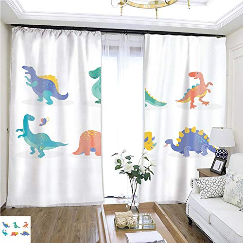 (Curtain lace Dinosaurs Collection Cute Illustrations of Prehistoric animals3 W108 x L78 Print Curtains Bedroom Curtains Highprecision Curtains for bedrooms Living Rooms Kitchens etc.)