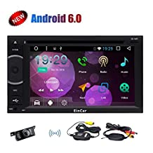 Newest 6.2 inch Pure Android 6.0 In Dash Car Stereo with Wireless Backup Camera Double 2Din Radio Muti-Touchscreen 1080P Video Quad-Core GPS Navigation Wifi Bluetooth Mirror link+External Microphone