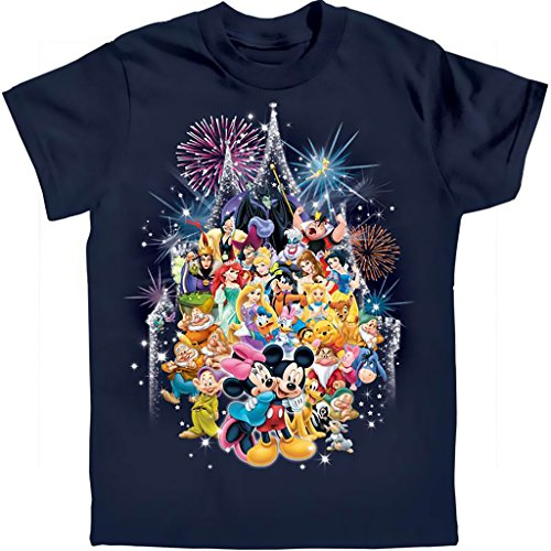Disney Adults Mickey Minnie & The Castle Crew Tee Small Navy Blue (Adult Disney Characters)