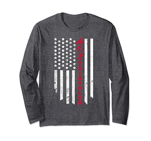 Unisex American Flag Triathlon Long Sleeve Shirt Small Dark - Triathlon Clothing Stores