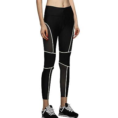 VJGOAL Mujeres Pantalones de Yoga de Cintura Alta Malla Costura ...