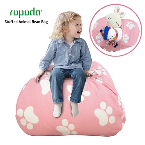 - ROPODA Extra Large Kids Stuffed Animal Storage Bean Bag Cover-100% Cotton Canvas Storage Bag Perfect Storage Solution for Toys, Clothes,Covers or Blankets (pink footprint, 38inches)
