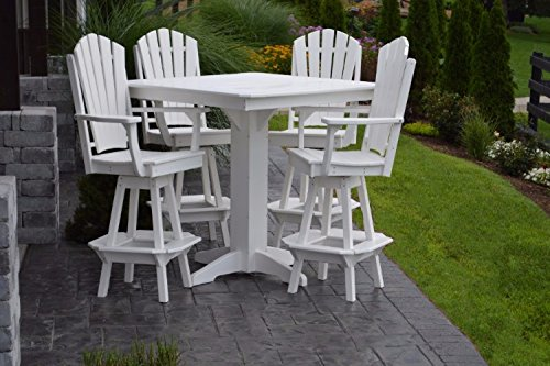 A&L Furniture Amish-Made Poly Outdoor Dining Set: Square Bar Table and 4 Adirondack Chairs, White