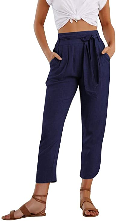 Risthy Pantalones De Lino Mujer Estilo Capri Harem Pantalones Casual Suelto Informal Pantalones De Oficina Trabajo Para Mujer Amazon Es Ropa Y Accesorios