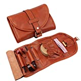 Firedog Pipe Tobacco Pouch, Smoking Pipe Bag Holder Leather Travel Roll up Vintage Case for 2 Pipes Accessories