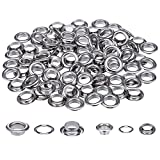 200 Sets 1/ 2 and 1/ 4 Inch Grommets Eyelets for Canvas Clothes and Leather DIY Craft Washer Self Backing