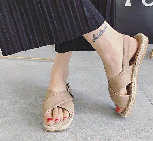 Zapatos Plano Mujer la Redonda Punta Onfly Puro UE Sandalias Roma 39 Tamaño Casuales Zapatos Abierta Sencillo Color Zapatos 35 Bomba Hebilla Cinturón Playa del apricot Punta Lino Slingback de tPF87qz
