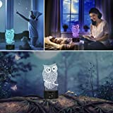 Owl 3D Illusion Lamp, Elstey 7 Color Changing Touch
