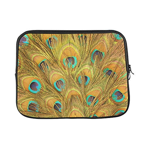Design Custom Peacock Green and Blue Plumage in Close Up Sleeve Soft Laptop Case Bag Pouch Skin for MacBook Air 11