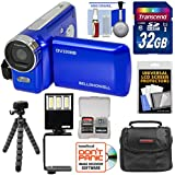Bell & Howell DV200HD HD Video Camera Camcorder Built-in Video Light (Blue) 32GB Card + Case + Flex Tripod + LED Video Light + Kit