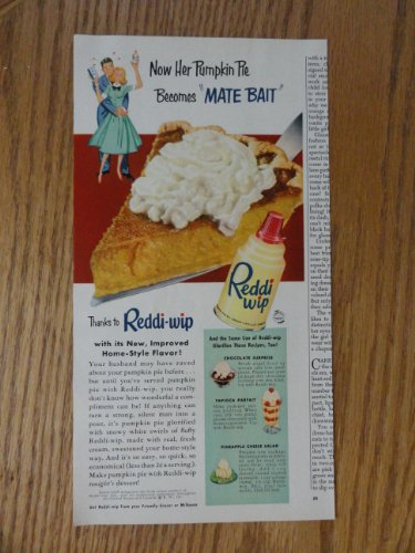 reddi-wip-authentic-1952-color-illustrationprint-ad-pumpkin-pie-becomes-mate-bait-original-vintage-1