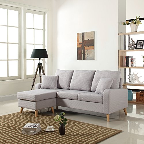 Mid Century Modern Linen Fabric Small Space Sectional Sofa with Reversible Chaise (Light Grey) (Mid Century Sectional Sofa)