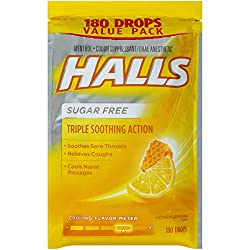 Halls Sugar-free Cough Drops, (Honey-lemon, 180 Drops)